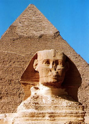 Sphinx and pyramid located at Giza, Egypt